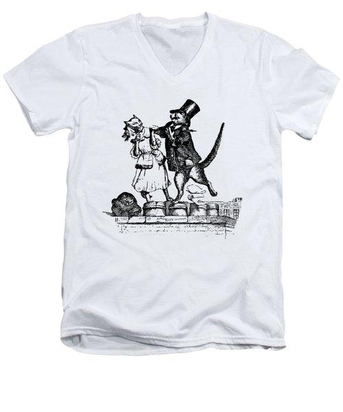 Cat Love Grandville Transparent Background Men's V-Neck T-Shirt