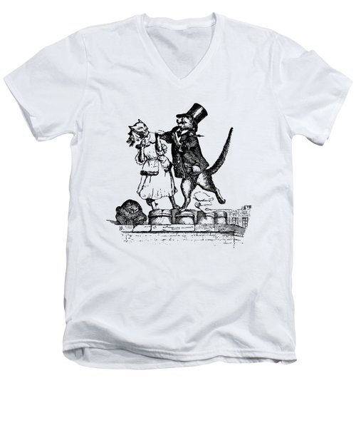 Cat Love Grandville Transparent Background Men's V-Neck T-Shirt