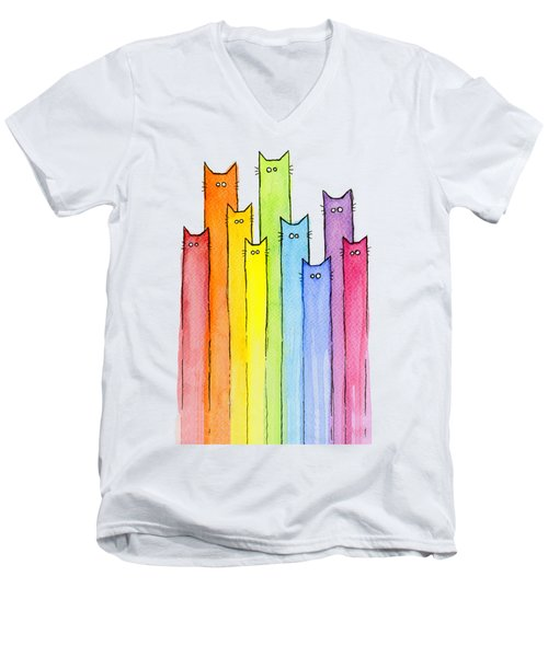 Cat Rainbow Watercolor Pattern Men's V-Neck T-Shirt