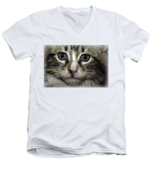 Cat T-shirt 1 Men's V-Neck T-Shirt by Isam Awad