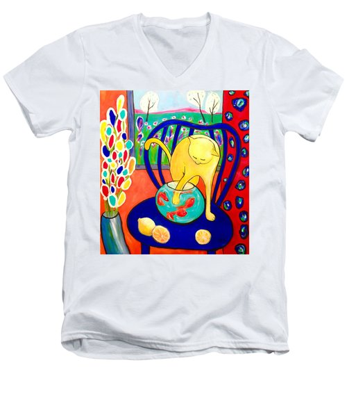 Cat - Tribute To Matisse Men's V-Neck T-Shirt
