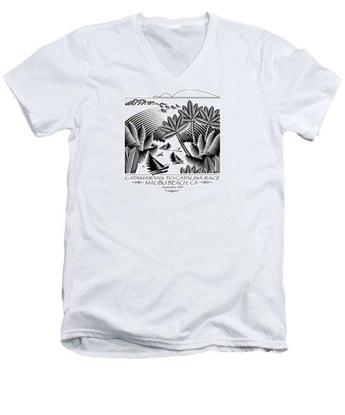 Catamarans To Catalina Race Men's V-Neck T-Shirt