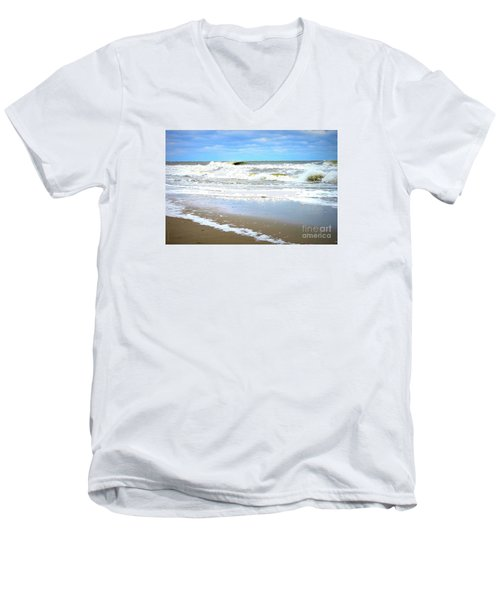 Men's V-Neck T-Shirt featuring the photograph Catch A Wave by Shelia Kempf