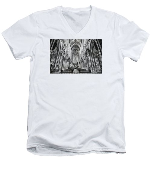 Men's V-Neck T-Shirt featuring the photograph Cathedral At Orleans France by Jack Torcello