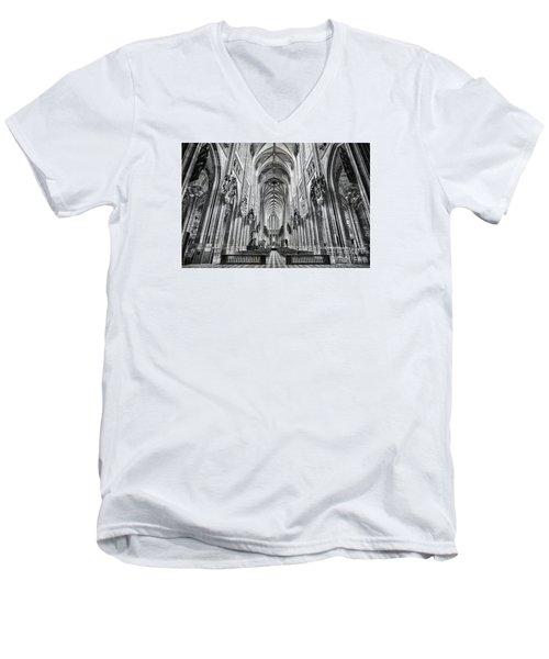 Cathedral At Orleans France Men's V-Neck T-Shirt by Jack Torcello