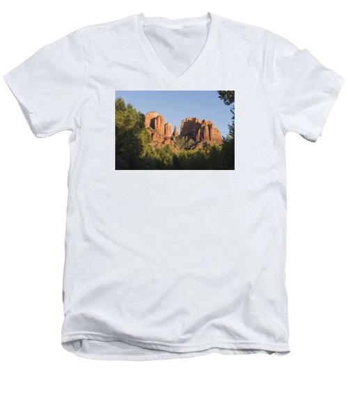 Cathedral In The Trees Men's V-Neck T-Shirt by Laura Pratt