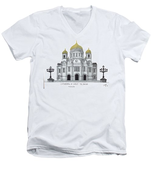 Cathedral  Of Christ The Savior - Moscow Men's V-Neck T-Shirt by Frederic Kohli