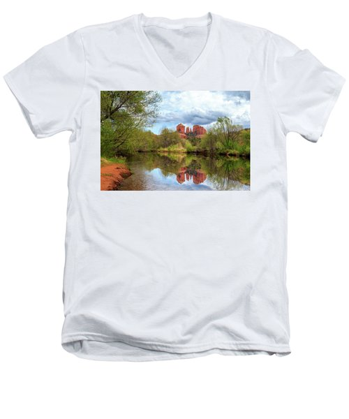 Men's V-Neck T-Shirt featuring the photograph Cathedral Rock Reflection by James Eddy