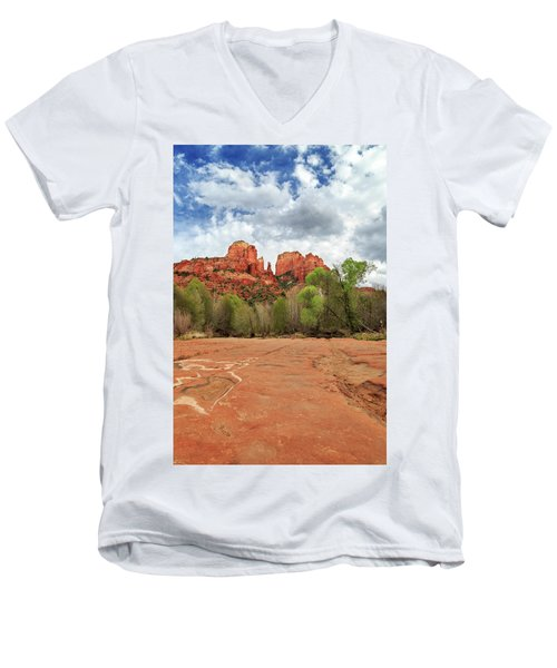 Men's V-Neck T-Shirt featuring the photograph Cathedral Rock Sedona by James Eddy