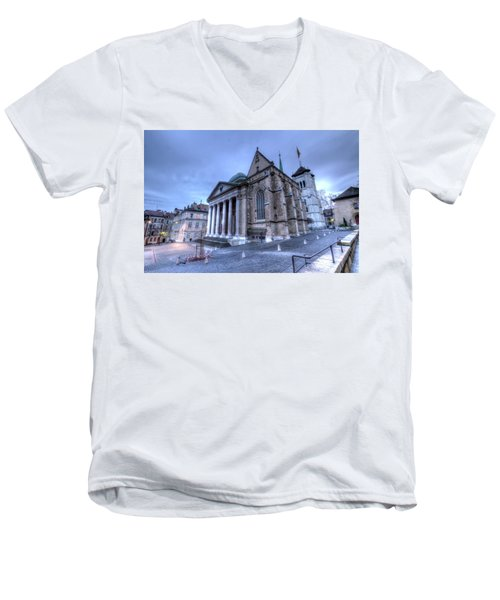Cathedral Saint-pierre, Peter, In The Old City, Geneva, Switzerland, Hdr Men's V-Neck T-Shirt by Elenarts - Elena Duvernay photo