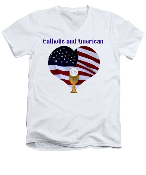 Men's V-Neck T-Shirt featuring the photograph Catholic And American Flag And Holy Eucharist by Rose Santuci-Sofranko