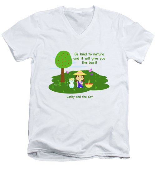 Cathy And The Cat Are Kind To Nature Men's V-Neck T-Shirt