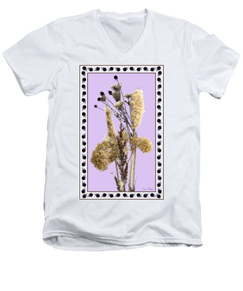 Cattails And November Flowers Men's V-Neck T-Shirt by Lise Winne