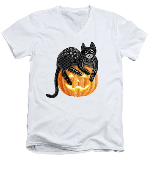 Cattober Men's V-Neck T-Shirt by Veronica Kusjen