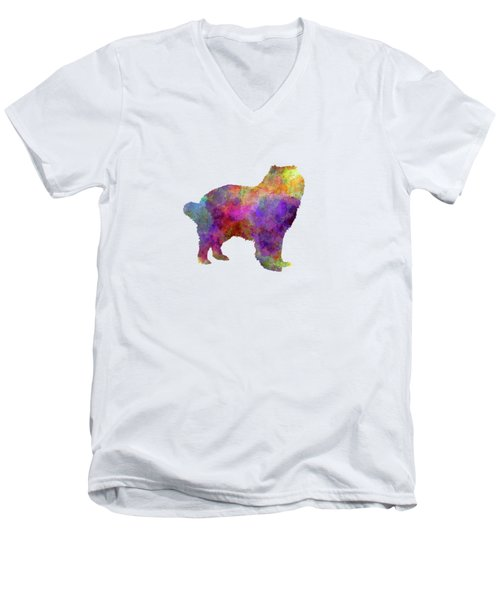 Caucasian Shepherd Dog In Watercolor Men's V-Neck T-Shirt