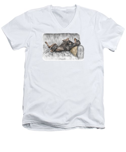 Men's V-Neck T-Shirt featuring the drawing Caution Guard Dog - Doberman Pinscher Print Color Tinted by Kelli Swan