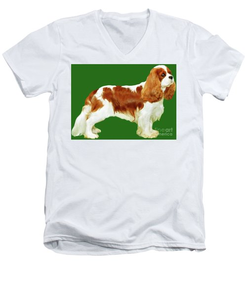 Men's V-Neck T-Shirt featuring the painting Cavalier King Charles Spaniel by Marian Cates
