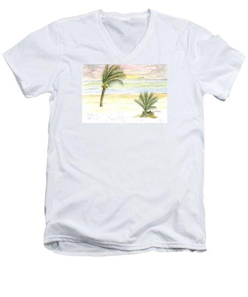 Men's V-Neck T-Shirt featuring the digital art Cayman Beach by Darren Cannell