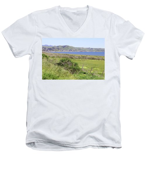 Men's V-Neck T-Shirt featuring the photograph Cayucos Coastline - California by Art Block Collections