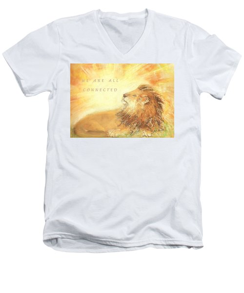 Men's V-Neck T-Shirt featuring the drawing Cecil The Lion by Denise Fulmer