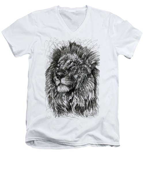 Cecil The Lion Men's V-Neck T-Shirt by Michael Volpicelli