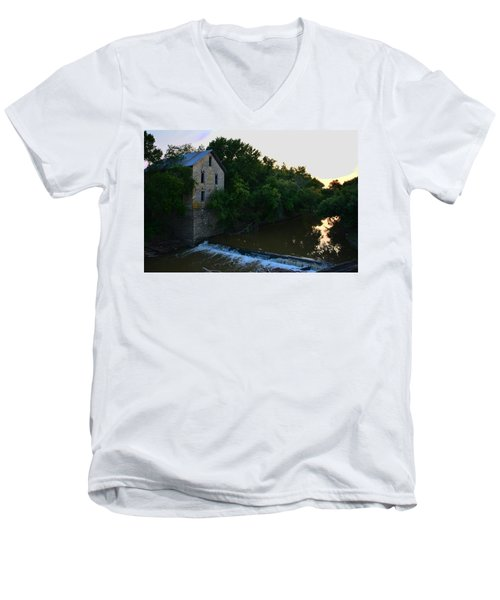 Cedar Point Mill Men's V-Neck T-Shirt by Keith Stokes