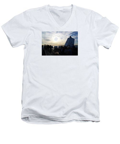 Men's V-Neck T-Shirt featuring the photograph Celebrating The Sunset by Margie Avellino