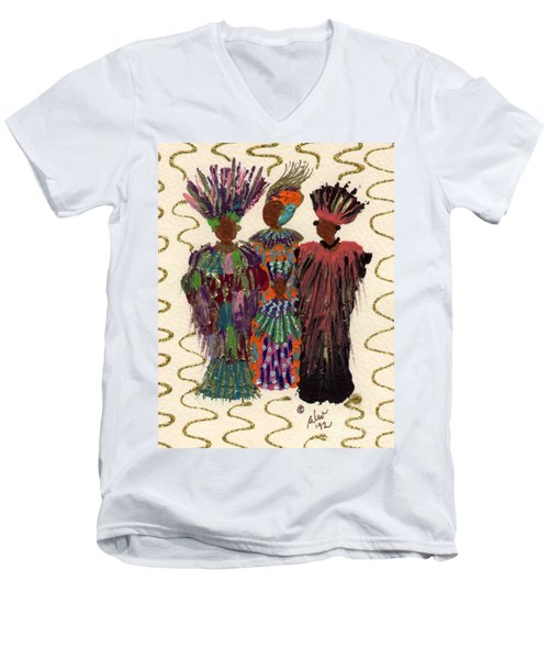 Men's V-Neck T-Shirt featuring the mixed media Celebration by Angela L Walker