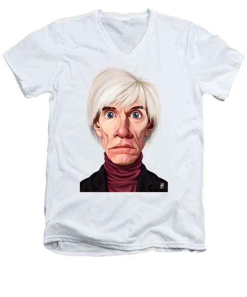 Men's V-Neck T-Shirt featuring the drawing Celebrity Sunday - Andy Warhol by Rob Snow