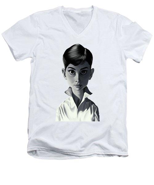 Celebrity Sunday - Audrey Hepburn Men's V-Neck T-Shirt by Rob Snow