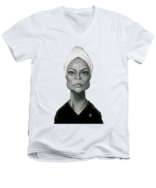 Celebrity Sunday - Eartha Kitt Men's V-Neck T-Shirt by Rob Snow