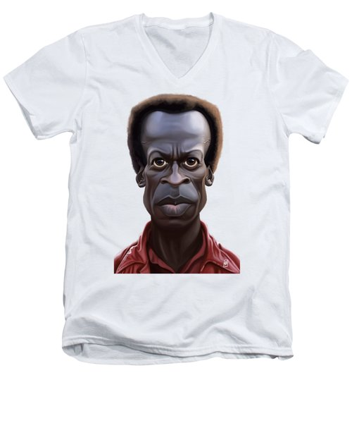 Men's V-Neck T-Shirt featuring the drawing Celebrity Sunday - Miles Davies by Rob Snow
