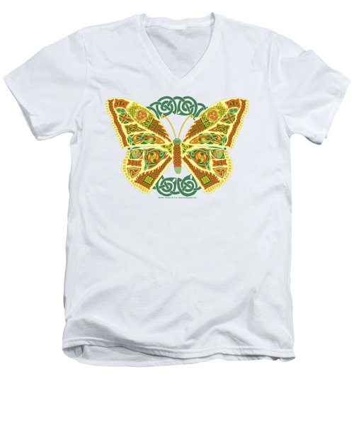 Men's V-Neck T-Shirt featuring the mixed media Celtic Butterfly by Kristen Fox