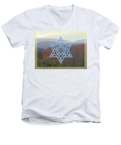 Celtic Hexagram Rose In Blue Men's V-Neck T-Shirt
