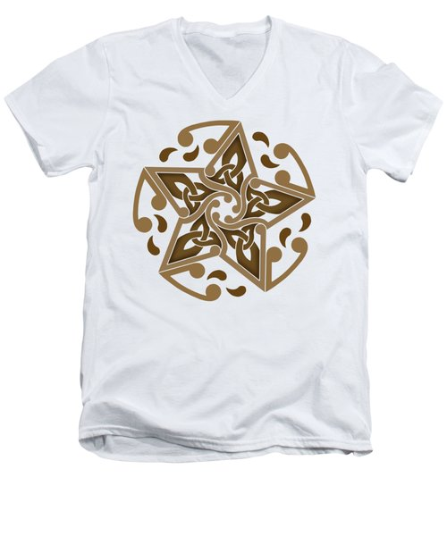 Men's V-Neck T-Shirt featuring the mixed media Celtic Star by Kristen Fox