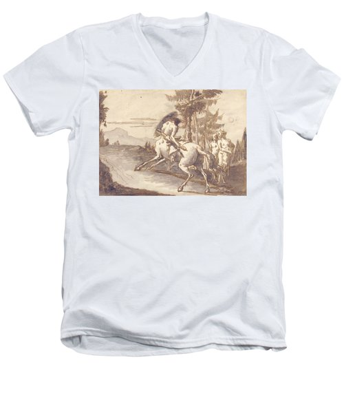 Centaur With Shield And Two Satyresses Men's V-Neck T-Shirt