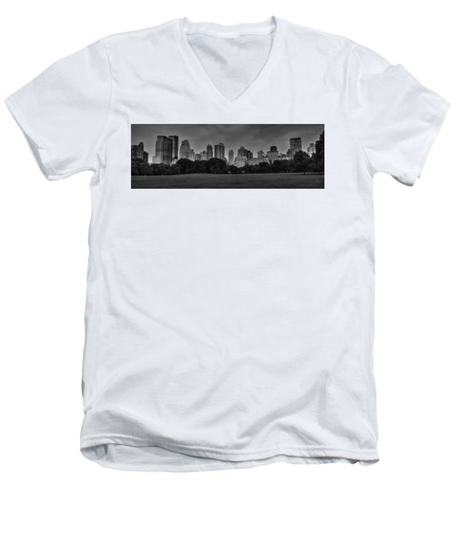 Men's V-Neck T-Shirt featuring the photograph Central Park Skyline Pano 001 Bw by Lance Vaughn