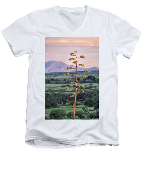 Men's V-Neck T-Shirt featuring the photograph Centuryplant by Gina Savage