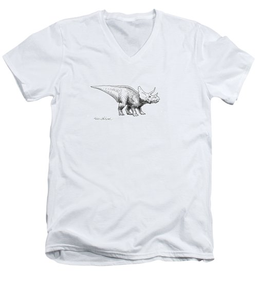 Men's V-Neck T-Shirt featuring the drawing Cera The Triceratops - Dinosaur Ink Drawing by Karen Whitworth