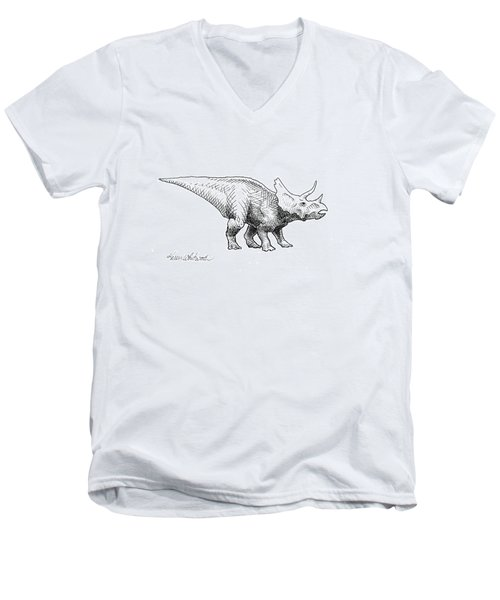 Cera The Triceratops - Dinosaur Ink Drawing Men's V-Neck T-Shirt