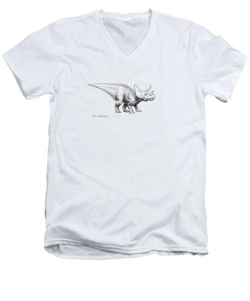 Cera The Triceratops - Dinosaur Ink Drawing Men's V-Neck T-Shirt