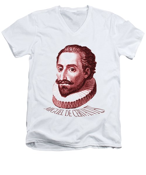 Cervantes Men's V-Neck T-Shirt by Asok Mukhopadhyay