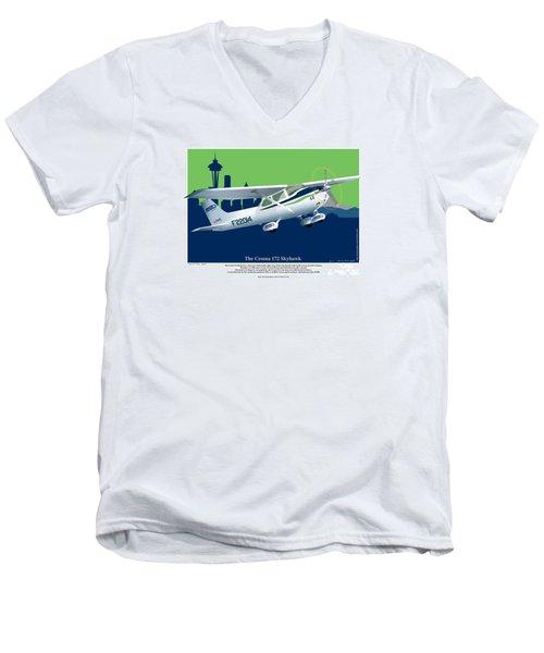 Cessna Skyhawk 172 Men's V-Neck T-Shirt by Kenneth De Tore