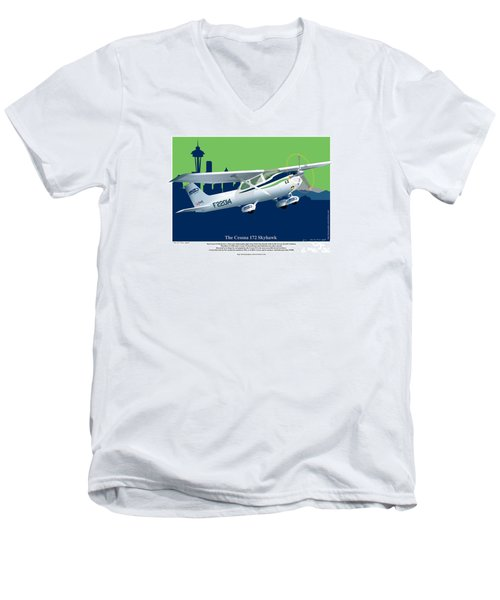 Men's V-Neck T-Shirt featuring the drawing Cessna Skyhawk 172 by Kenneth De Tore