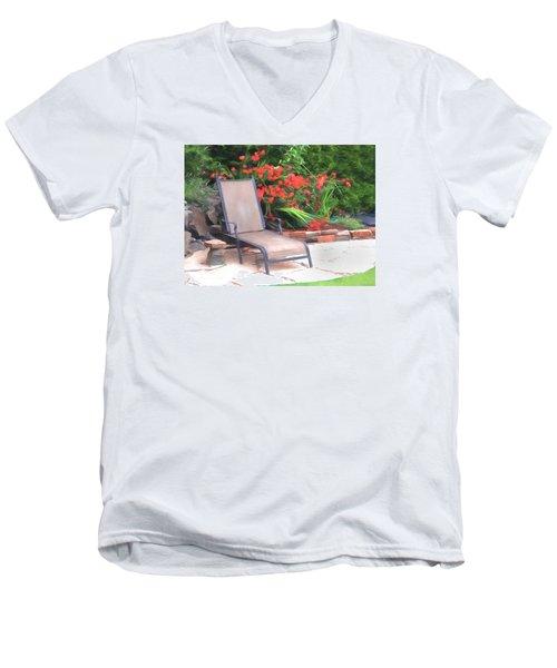 Men's V-Neck T-Shirt featuring the photograph Chair Waiting by Susan Crossman Buscho