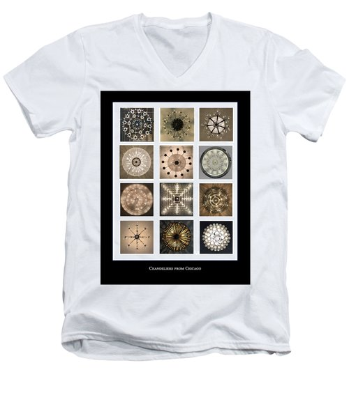 Chandeliers From Chicago Poster Men's V-Neck T-Shirt