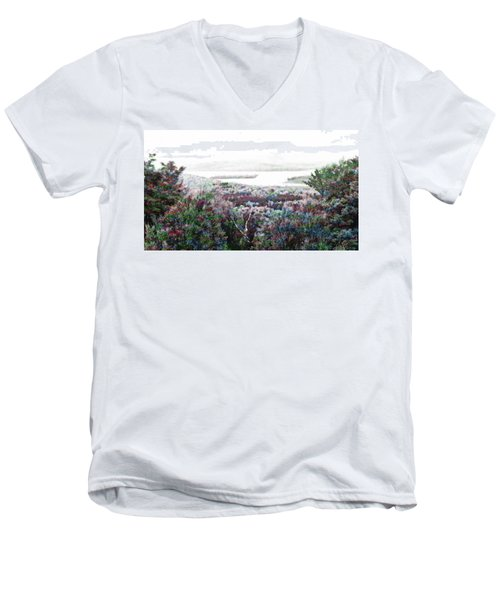 Men's V-Neck T-Shirt featuring the mixed media Change Of Seasons by Mike Breau