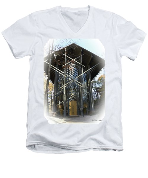 Men's V-Neck T-Shirt featuring the photograph Chapel In The Woods by Lena Wilhite