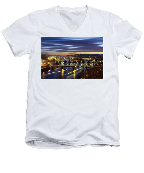 Charles Bridge During Sunset With Several Boats, Prague, Czech Republic Men's V-Neck T-Shirt