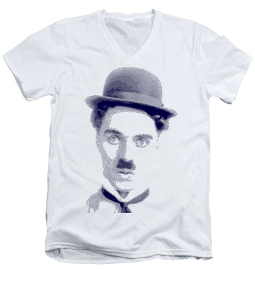 Charlie Chaplin - Cross Hatching In Blue Men's V-Neck T-Shirt